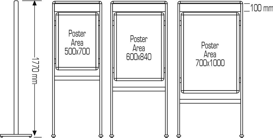 PORTE-AFFICHE COINS ARRONIS DOUBLE PIEDS AVEC ENSEIGNE DOUBLE-FACE  (PORTE-AFFICHE : PORTE-AFFICHE)
